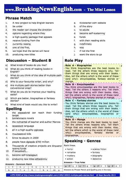 Breaking News English | 2-Page Mini-Lesson | Multiple-Path