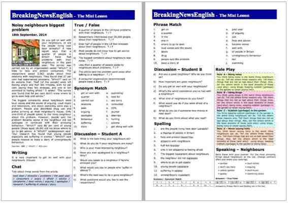 Breaking news english 2 page mini lesson neighbours a 2 page mini lesson neighbours altavistaventures Image collections