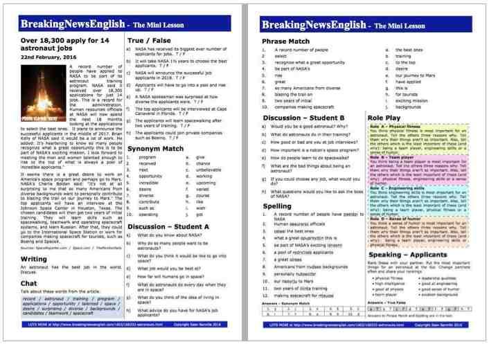 Breaking News English   2-Page Mini-Lesson   NASA Astronauts on job bible,
