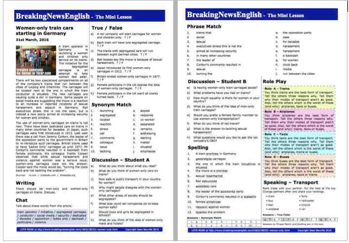 Breaking News English | 2-Page Mini-Lesson | Women-Only Trains