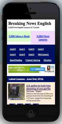 Free 2-page printable mini-lesson on the mobile-friendly Breaking News English website.