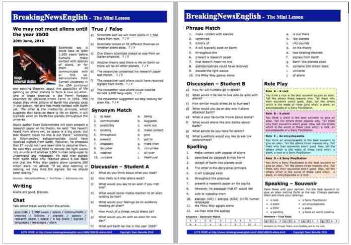 Breaking news english 2 page mini lesson aliens we may not meet aliens until the year 3500 m4hsunfo