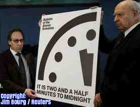 Free 2-page printable mini-lesson on scientists saying the apocalypse is 30 seconds closer on the Doomsday Clock because of Donald Trump.