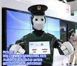 Free 2-page printable mini-lesson on the world's first robot police officer, who started work in Dubai.