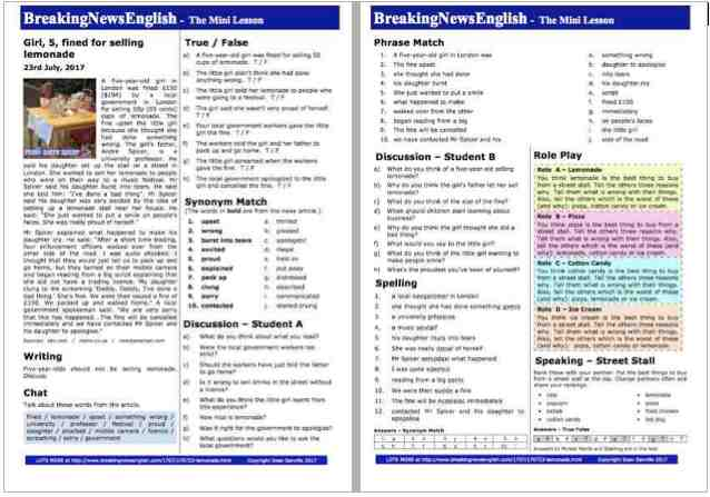 Breaking News English | 2-Page Mini-Lesson | Lemonade