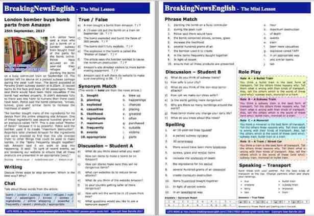 Breaking News English   2-Page Mini-Lesson   London Subway