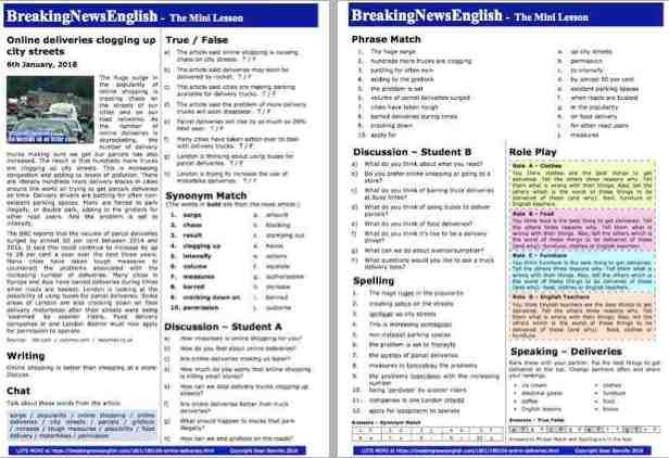 Breaking News English | 2-Page Mini-Lesson | Online Deliveries