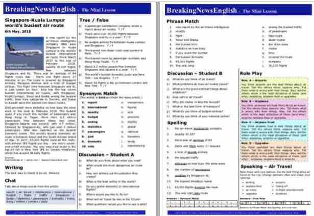 Breaking News English   2-Page Mini-Lesson   Air Routes