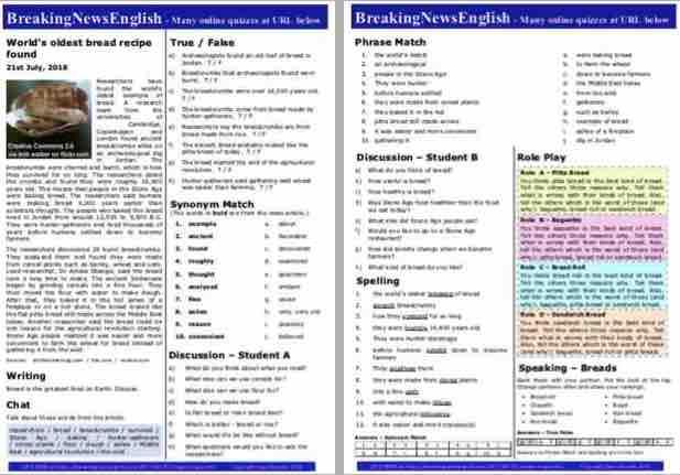 Breaking News English   2-Page Mini-Lesson   Bread Recipe