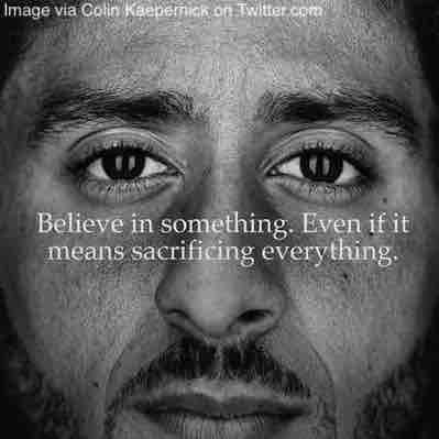 Free 2-page printable mini-lesson on Nike using NFL protest player Colin Kaepernick in an ad campaign.